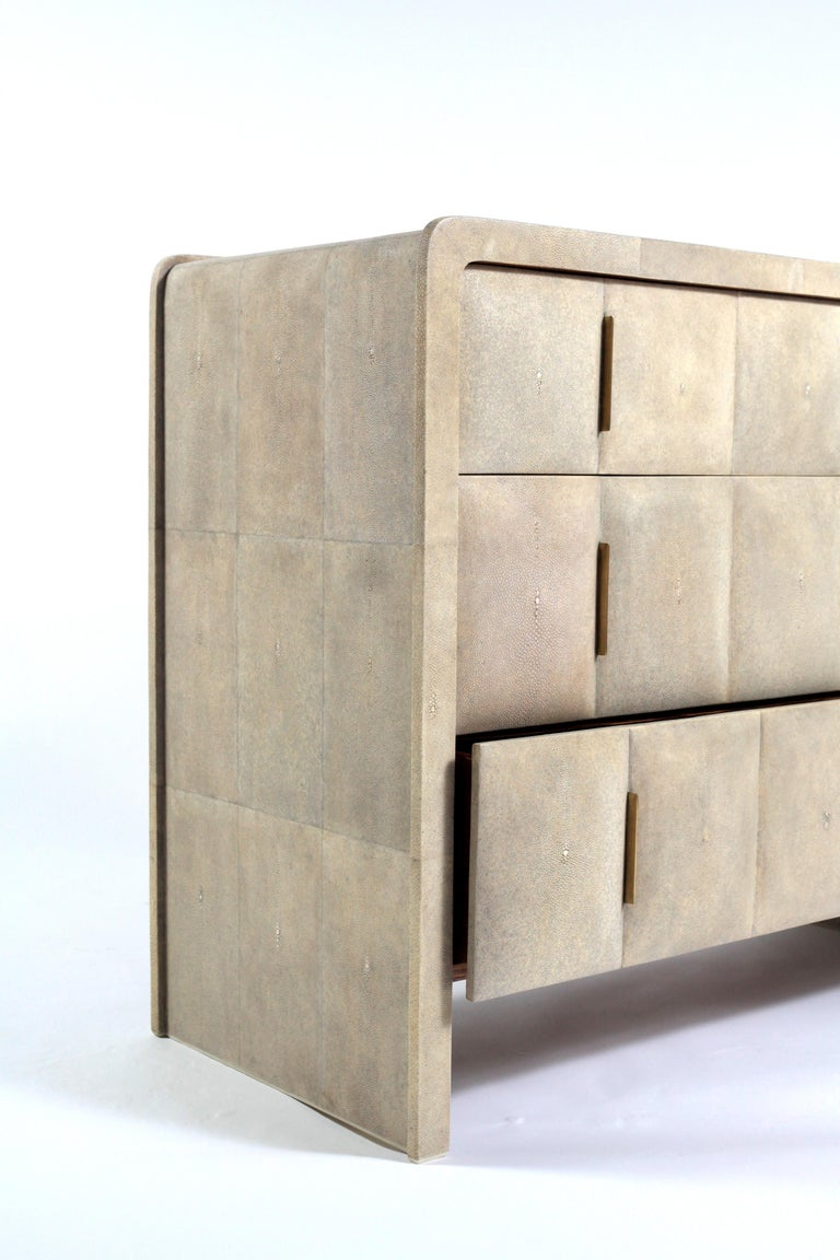French Quilted Chest of Drawers in Cream Shagreen by R&Y Augousti For Sale