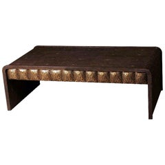 Quilted Coffee Table in Mink Shagreen and Bronze Patina Brass by R&Y Augousti
