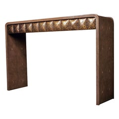 Quilted Console in Mink Shagreen and Bronze Patina Brass by R&Y Augousti