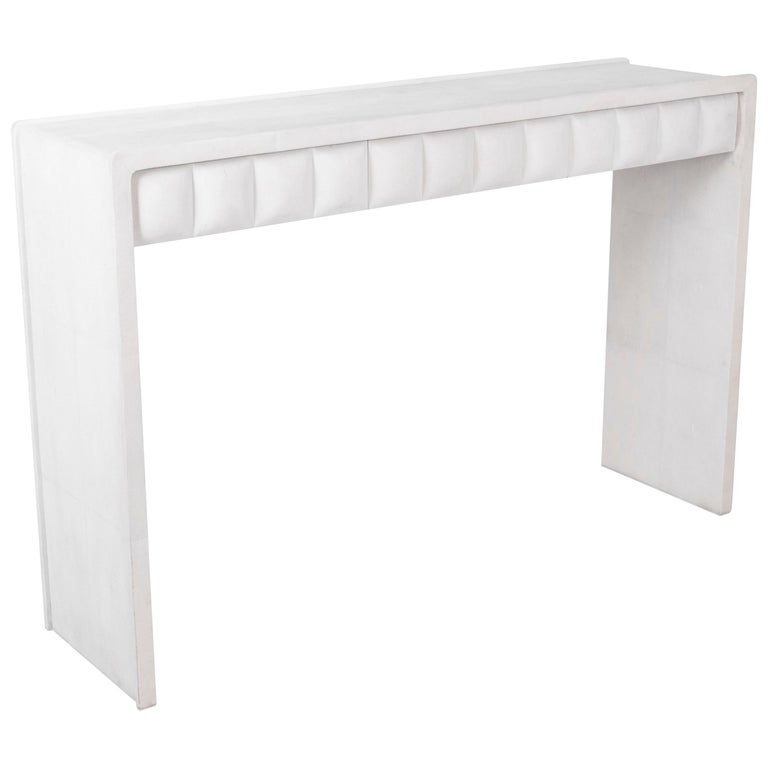 Quilted Console in White Shagreen by R&Y Augousti For Sale