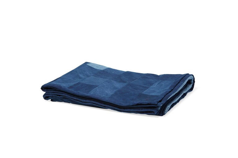 Modern Quilted Indigo Canvas Throw Blanket V2 For Sale