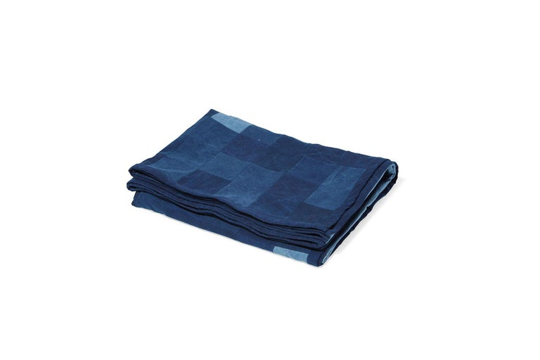 American Quilted Indigo Canvas Throw Blanket V2 For Sale