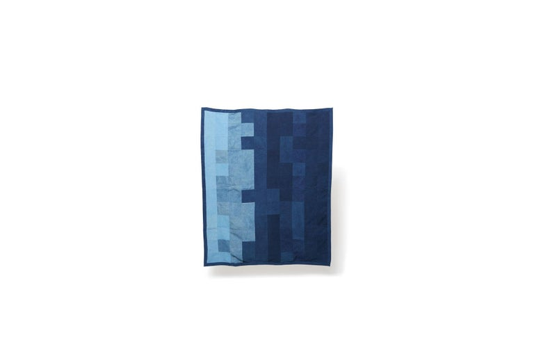 Vegetable Dyed Quilted Indigo Canvas Throw Blanket V2 For Sale