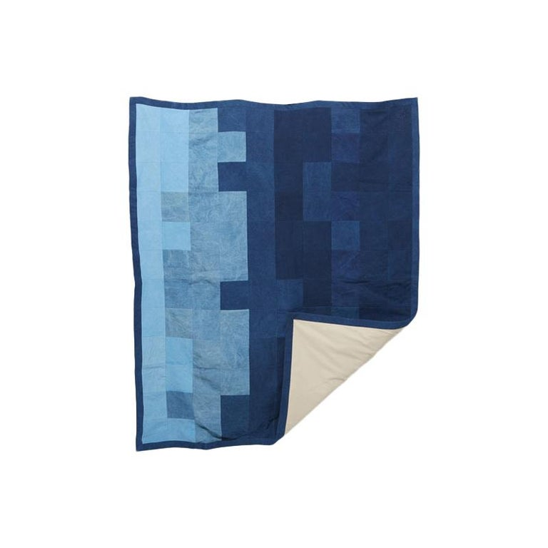 Quilted Indigo Canvas Throw Blanket V2 For Sale