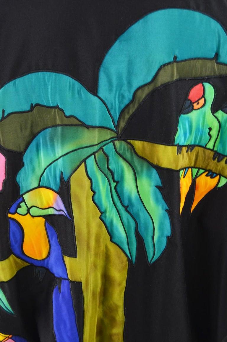Quilted Silk Applique & Black Cotton Vintage Jungle Theme Extreme Batwing Jacket For Sale 6