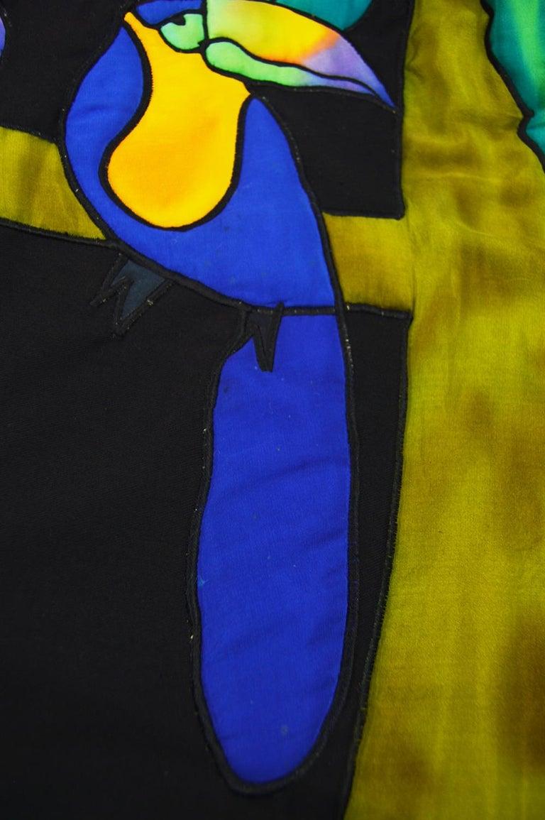 Quilted Silk Applique & Black Cotton Vintage Jungle Theme Extreme Batwing Jacket For Sale 8