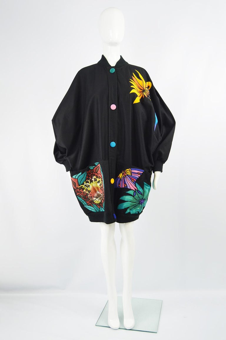 """Size: Marked One Size fits All. Meant to have a loose, dramatic fit as pictured.   Bust - Free Waist -  Free Length (Shoulder to Hem) - 36"""" / 91cm  An incredible vintage women's jacket from the 80s by luxury American fashion label, Silkscapes who"""