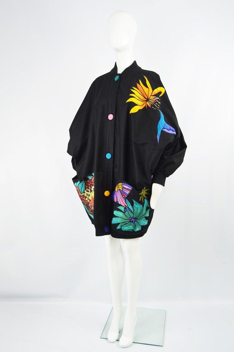 Women's Quilted Silk Applique & Black Cotton Vintage Jungle Theme Extreme Batwing Jacket For Sale