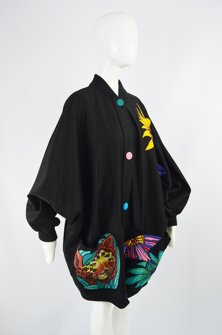 Quilted Silk Applique & Black Cotton Vintage Jungle Theme Extreme Batwing Jacket For Sale 3
