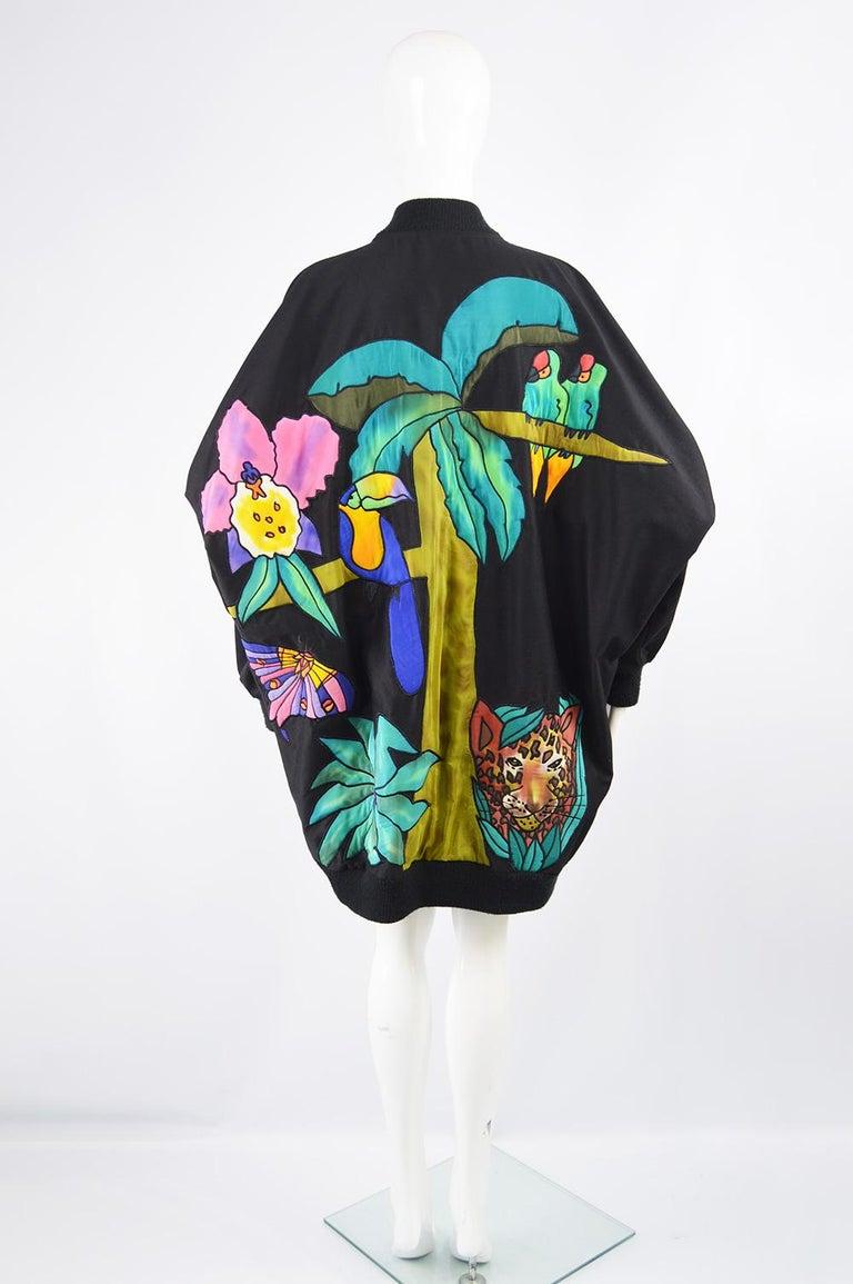 Quilted Silk Applique & Black Cotton Vintage Jungle Theme Extreme Batwing Jacket For Sale 5