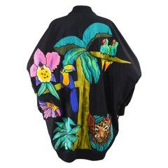 Quilted Silk Applique & Black Cotton Vintage Jungle Theme Extreme Batwing Jacket