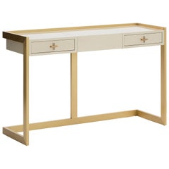 Quimera Dressing Table with Brushed Brass Structure and Handles
