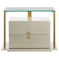 Quimera Nightstand in Brushed Brass Structure and Handles and Natural Glass Top