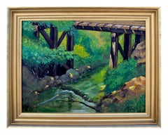 Bridge Over Mountain Stream Landscape