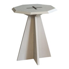 Quinde Side Table, Small, Cerused Oak with Patinated Brass