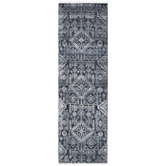 Quinn, Contemporary Transitional Hand Knotted Runner Rug, Navy