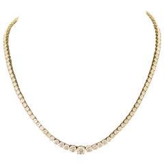 Quintessential Diamond Riviére Straight Line Graduated Diamond Necklace in 18k