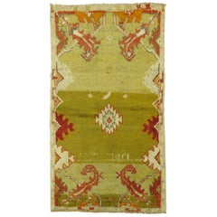 Quirky 20th Century Green Color Turkish Anatolian Wool Rug