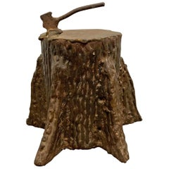 Quirky American Folk Art Iron Tree Stump