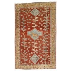 Quirky Folk Art Tribal Camel Medallion Caucasian Rug