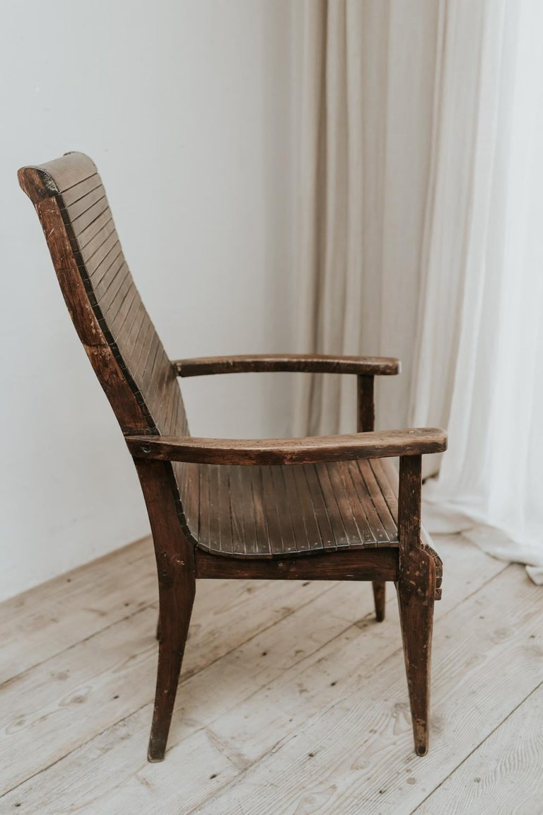 French from the 1930s, comfortable, unusual, chic pine armchair, ready for your interior.