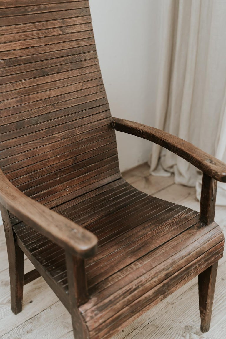 Pine Quirky Highback Wooden Chair For Sale