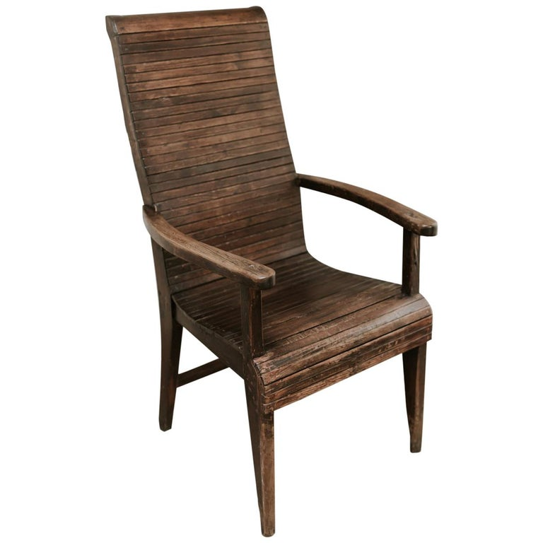 Quirky Highback Wooden Chair For Sale