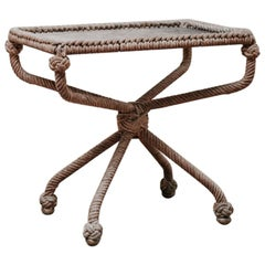 Quirky Leather Topped, 1960s Rope Coffee Table