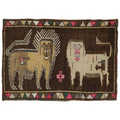 Quirky Lion Pictorial Turkish 20th Century Wool Rug