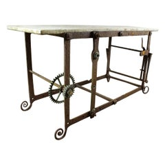 Quirky Marble Topped Clock Part Table, 20th Century