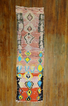 Quirky Moroccan Antique Colorful Geometric Large Scale Wool Runner