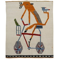 Quirky Pigeons on Bicycle Vintage Persian Flat-Weave