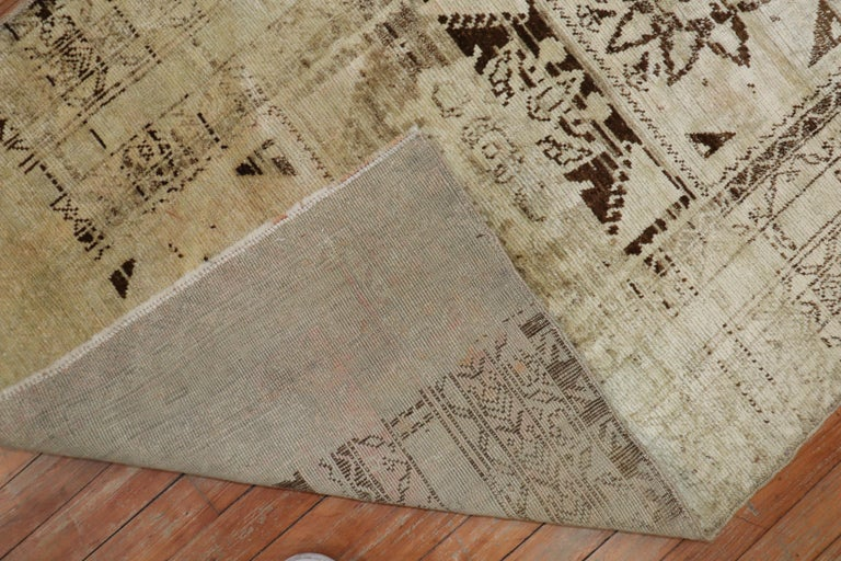 Hand-Knotted Quirky Vintage Beige Brown Turkish Runner For Sale