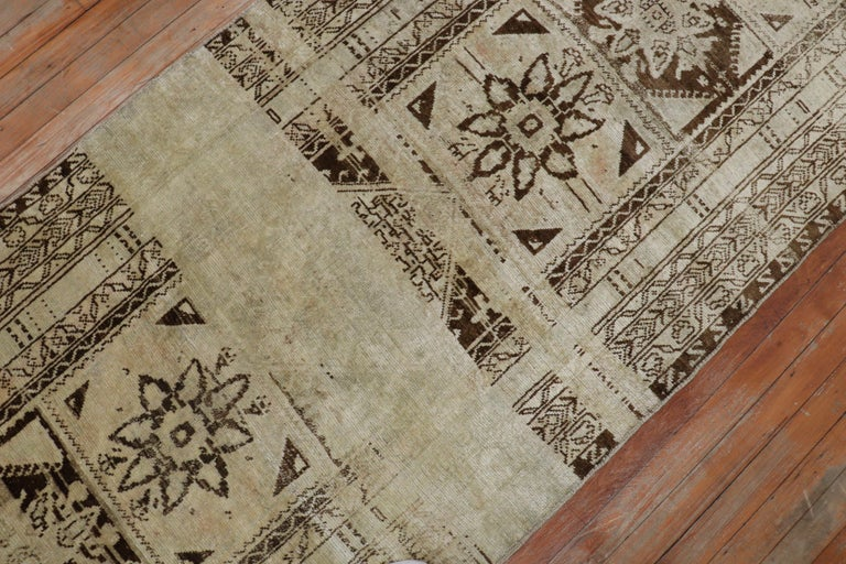 Quirky Vintage Beige Brown Turkish Runner In Good Condition For Sale In New York, NY