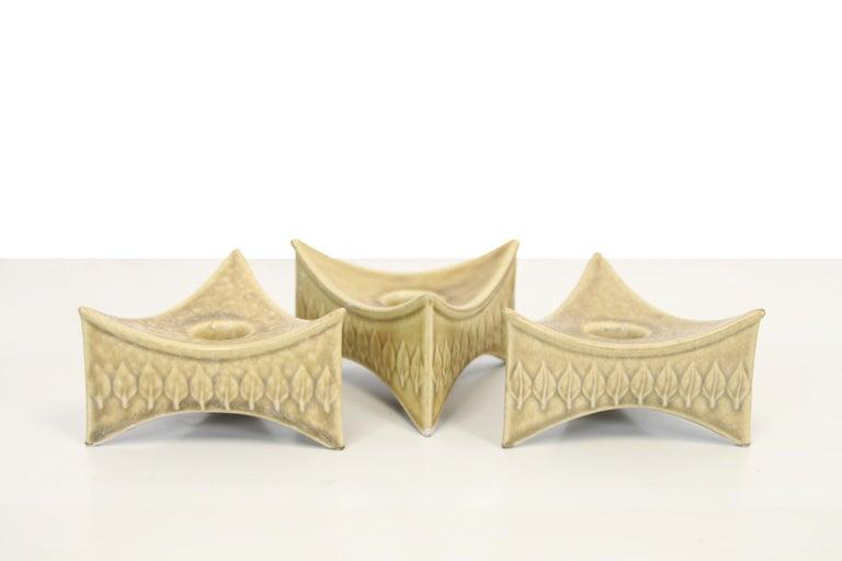 Mid-Century Modern Set of 3 Mid century Danish stoneware Relief Candlesticks by Quistgaard, 1960s For Sale