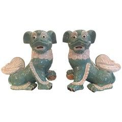 Quite Large Impressive Pair of Soft Turquoise and Cream Ceramic Foo Dogs