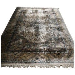 Qum Kazemi Fine Vintage Persian Silk Hand Knotted Rug in Light Colors