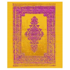 Qum Refracted Gold Orchid Hand Knotted Contemporary Modern Design Carpet
