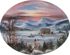 """Brilliant Sunset Over a Winter Farm Landscape"" Hudson River School Oval View"