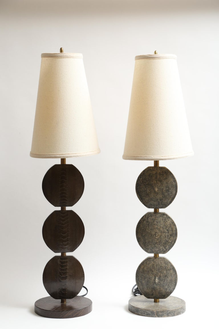 R and Y Augousti Articulated Shagreen Lamp For Sale 4