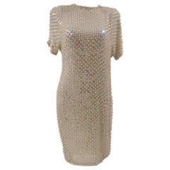 R. Carrano cream beads dress
