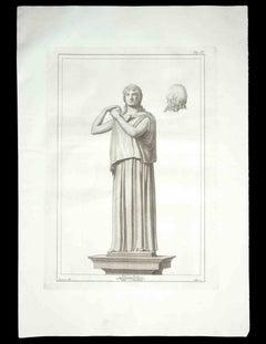 Ancient Roman Statue - Original Etching by R. Casanova - 18th Century
