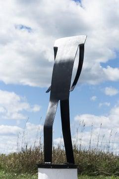 Bravado II - playful, abstracted figure, laser cut steel outdoor sculpture