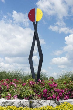 Past Conversations - colourful, playful, abstracted figures, steel sculpture