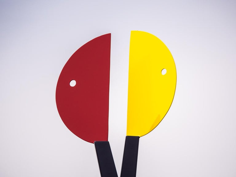 Past Conversations - colourful, playful, abstracted figures, steel sculpture - Contemporary Sculpture by R. Clark Ellis