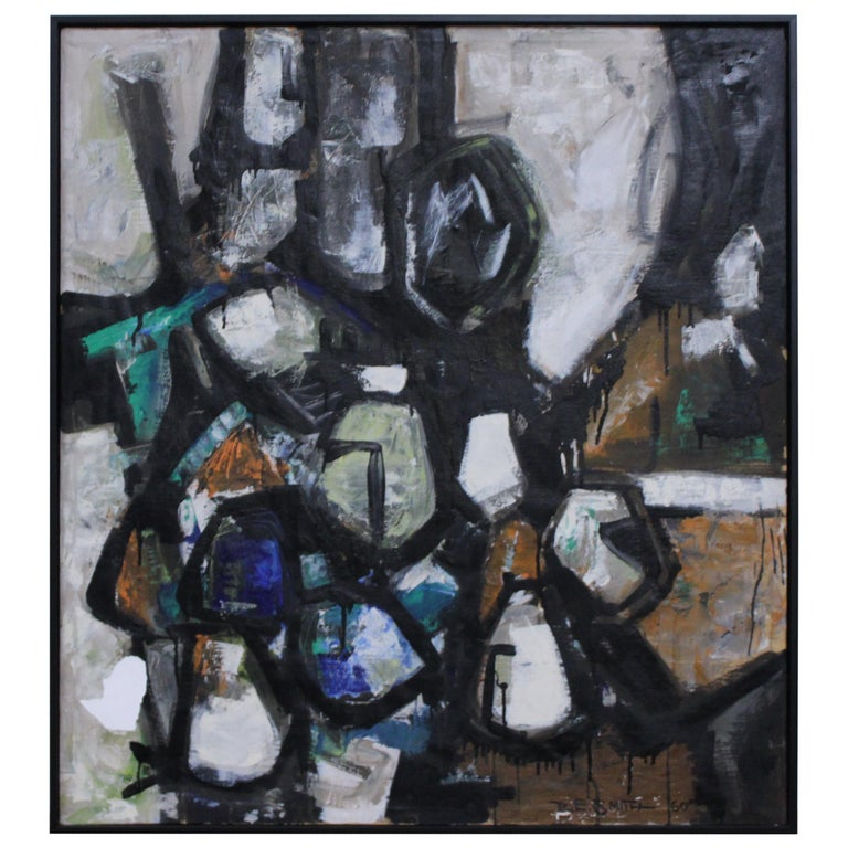 R. E. Smith 1960 Abstract Oil on Canvas For Sale