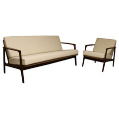 R. Huber Mid-Century Modern Teak Sofa and Chair Set