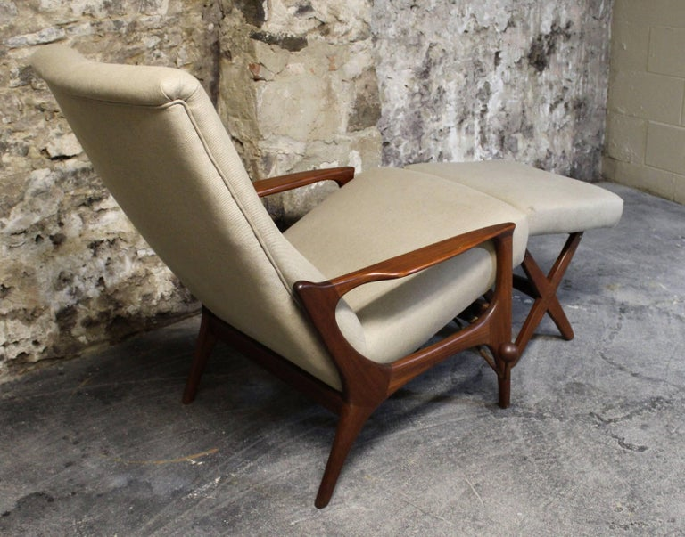 20th Century R. Huber Teak Reclining Lounge Chair with Ottoman For Sale