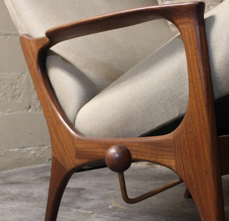 Upholstery R. Huber Teak Reclining Lounge Chair with Ottoman For Sale