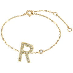 R Initial Bezel Chain Bracelet